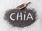 The word chia written in chia seeds