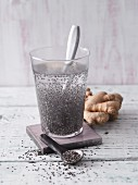 Anti-hangover ginger water with chia seeds