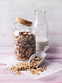 Almond and goji granola with dried fruits and chia seeds