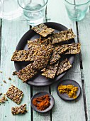 Sesame and chia crackers with chilli and curry powder