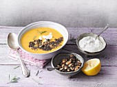 Sweet potato soup with chia seeds and peanuts