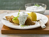 Peeled potatoes with Frankfurt green sauce