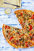 Large tuna, tomato and olives pizza