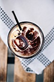 Iced coffee on a white background