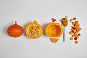 Rinsing and dicing Hokkaido pumpkin (step by step)