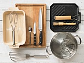 Kitchen utensils: griddle pan, pot, casserole, whisk, spatula