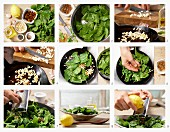 How to make spinach with pine nuts and raisins