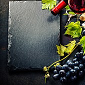 Food background with Wine and Grap