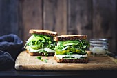 Green vegetable salad sandwich