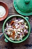 Potato salad with smoked mackerel