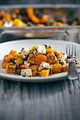 Hokkaido squash, carrots, mushrooms and tofu in herb marinade (vegan)