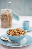 A breakfast of healthy granola, served in a bowl