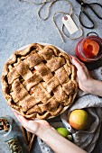 Apple and quince lattice pie, Gluten free