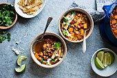 Smoky Sweet Potato and Lentil Tortilla Soup, gluten free and vegan