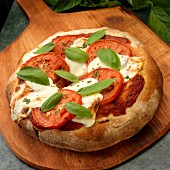 Rustic Pizza with tomatoes Mozzarella and Basil and Fresh Basil