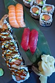 Different varieties of maki sushi and nigiri sushi