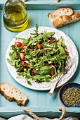 Salad with arugula, cherry tomatoes, pine nuts and herbs on white ceramic plate over blue wood background