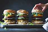 Spiced Zucchini, Feta and Chickpea Veggie Burgers with Minted Yogurt Sauce