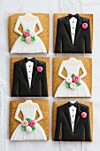 Bride and groom cookies for a wedding
