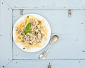 Pasta mafaldine with mushrooms and cream sauce in white ceramic plate over light blue wooden background