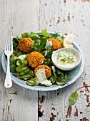 Falafel (Kichererbsenbällchen, Arabien) mit Dip auf Salat