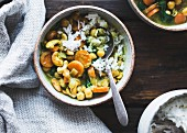 Coconut curried chickpeas with carrots and cashews, gluten-free, vegan