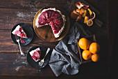 Blood orange and corn flour ricotta cake with whipped mascarpone, gluten-free