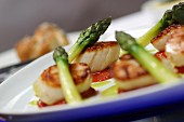Caramalised Isle of Skye king scallops, tomato confit, green asparagus, basil butter sauce