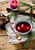 Beetroot soup with Christmas pastries (Poland)