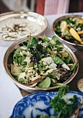 Mixed greens, grapes and Parmesan cheese salad for summer lunch