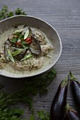 Bowl of Thai Green Curry with Aubergine and Coriander