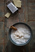 White Hot Chocolate with Marshmallow and Chocolate Grater