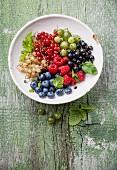 Mischung aus frischen Beeren mit Blättern im Vintage Keramiksieb auf grünem Holzuntergrund