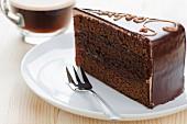 Sacher cake on a plate