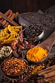 Indian spices/ Chili Flakes, Turmeric, Chili, Cardamom, Star Anise, Black Pepper