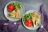 Potato Sage Gruyere Galette served with tomatoes, arugula and white wine