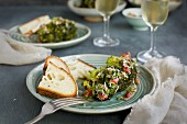 Chard Broccoli Head with Tomato Italian Style Salsa Verde served with bread and white wine