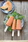 Cantaloupe melon popsicle