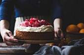 Blood orange and corn flour ricotta cake with whipped mascarpone, gluten-free