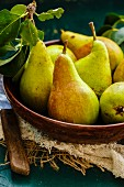 A wooden bowl of pears