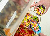 Pick and mix sweet dispenser in a supermarket
