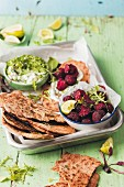Beetroot falafel with flatbread