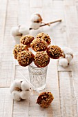 Cake pops covered in chocolate