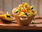 A vegetable and couscous dish with harissa