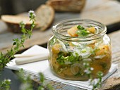 Grilled melon relish with honey and spring onions