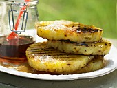 Grilled pineapple with pimento, coconut and maple syrup