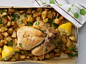Roast chicken with potatoes and lemon