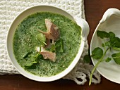Watercress soup with smoked trout