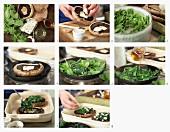 Portobellopilze gefüllt mit Spinat, Marsala und Blauschimmelkäse zubereiten