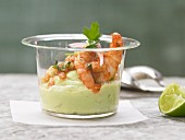 Prawns with avocado cream